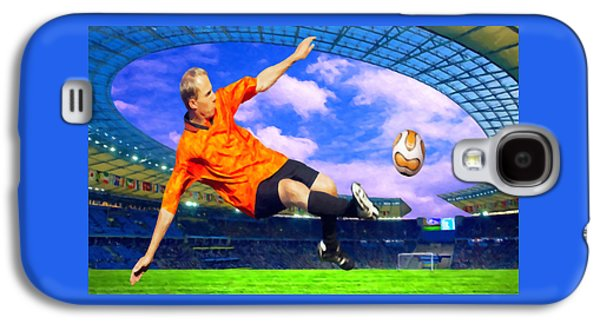 Goalkeeper Paintings Galaxy S4 Cases - Football player on field of stadium Galaxy S4 Case by Lanjee Chee