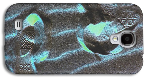 Blue Abstracts Galaxy S4 Cases - Footprints in the Sand Galaxy S4 Case by Feather Redfox