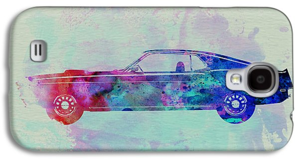 Watercolor Drawings Galaxy S4 Cases - Ford Mustang Watercolor 1 Galaxy S4 Case by Naxart Studio
