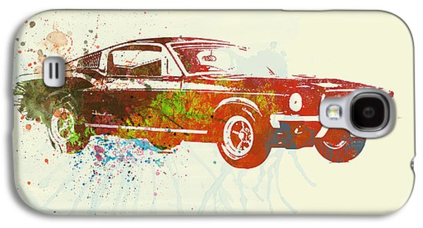 Classic Cars Photographs Galaxy S4 Cases - Ford Mustang Watercolor Galaxy S4 Case by Naxart Studio