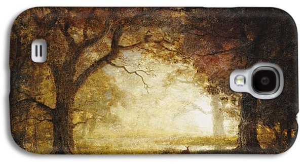 Wilderness Paintings Galaxy S4 Cases - Forest Sunrise Galaxy S4 Case by Albert Bierstadt