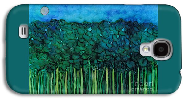 Green Galaxy S4 Cases - Forest Under The Full Moon Galaxy S4 Case by Hao Aiken