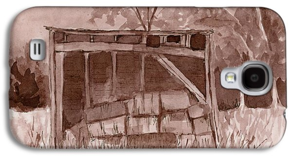 Hay Bales Paintings Galaxy S4 Cases - Forgotten Hay Shed Galaxy S4 Case by David King