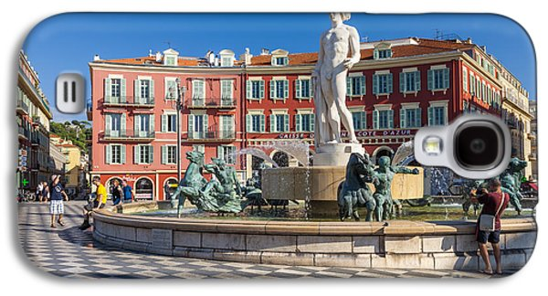 Landmarks Photographs Galaxy S4 Cases - Fountain of the sun at Place Massena in Nice Galaxy S4 Case by Elena Elisseeva