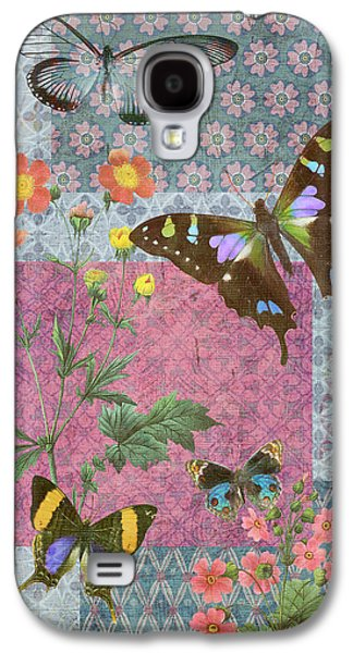Quilt Galaxy S4 Cases - Four Butterfly Patch Blue Galaxy S4 Case by JQ Licensing