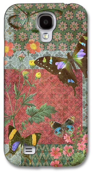 Quilt Galaxy S4 Cases - Four Butterfly Patch Green Galaxy S4 Case by JQ Licensing