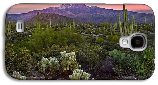 Snow-covered Landscape Galaxy S4 Cases - Four Peaks Sunset Galaxy S4 Case by Dave Dilli
