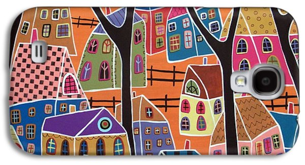Abstract Prints For Sale Paintings Galaxy S4 Cases - Four Trees And Houses On Orange Galaxy S4 Case by Karla Gerard