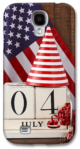 American Independance Galaxy S4 Cases - Fourth of July vintage wood calendar with flag background.  Galaxy S4 Case by Milleflore Images