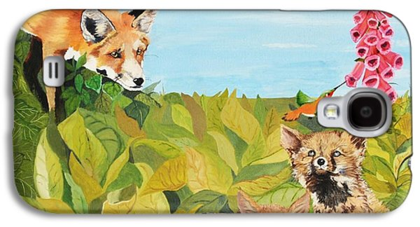 Fox Kit Paintings Galaxy S4 Cases - Fox Gloves Galaxy S4 Case by Kimatha Kesner