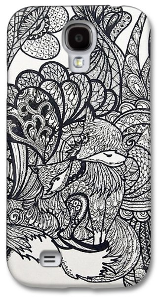 Ink Drawings Galaxy S4 Cases - Fox lover Galaxy S4 Case by Venie Tee