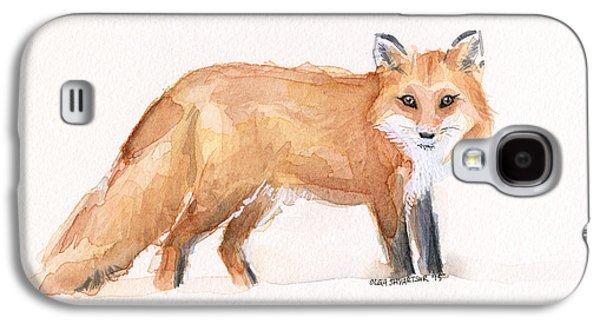 Red Fox Galaxy S4 Cases - Fox Watercolor Galaxy S4 Case by Olga Shvartsur
