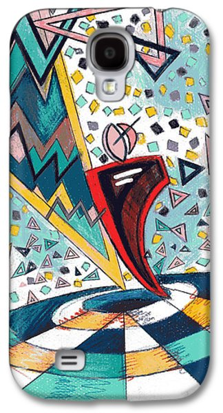 Colored Pencil Abstract Drawings Galaxy S4 Cases - Fractionated City Scape Galaxy S4 Case by Genevieve Esson