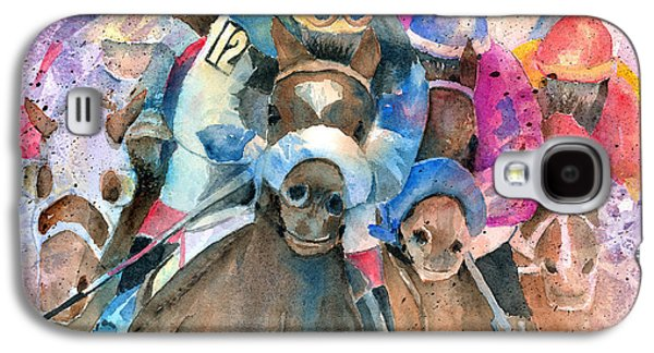 Horse Racing Galaxy S4 Cases - Frantic Finish Galaxy S4 Case by Arline Wagner