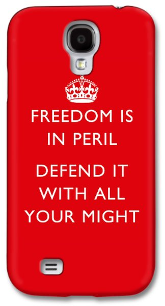 Military Mixed Media Galaxy S4 Cases - Freedom Is In Peril -- WW2 Propaganda  Galaxy S4 Case by War Is Hell Store