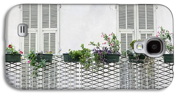 Balcony Galaxy S4 Cases - French balcony with shutters Galaxy S4 Case by Elena Elisseeva