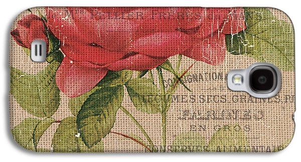 French Burlap Floral 1 Galaxy S4 Case by Debbie DeWitt