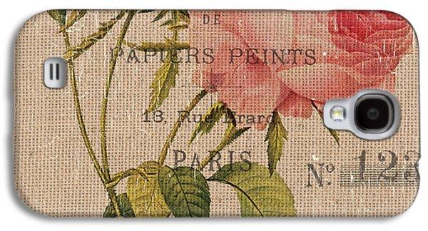French Burlap Floral 2 Galaxy S4 Case by Debbie DeWitt