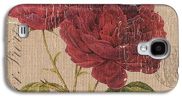 French Burlap Floral 3 Galaxy S4 Case by Debbie DeWitt