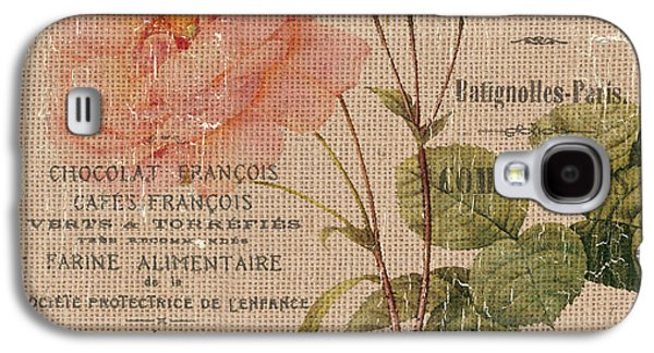 French Burlap Floral 4 Galaxy S4 Case by Debbie DeWitt