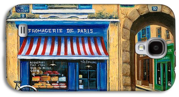 Street Paintings Galaxy S4 Cases - French Cheese Shop Galaxy S4 Case by Marilyn Dunlap