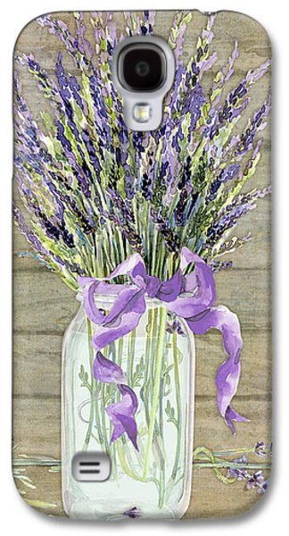 Mason Jars Galaxy S4 Cases - French Lavender Rustic Country Mason Jar Bouquet on Wooden Fence Galaxy S4 Case by Audrey Jeanne Roberts