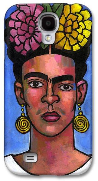 Diego Rivera Galaxy S4 Cases - Frida on Blue Background Galaxy S4 Case by Douglas Simonson