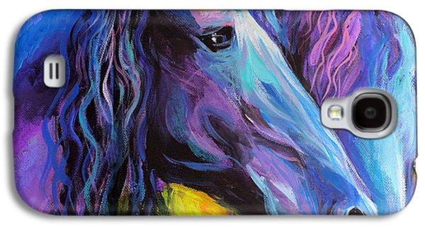 Equestrian Prints Galaxy S4 Cases - Friesian horses painting Galaxy S4 Case by Svetlana Novikova