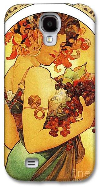 Grapes Art Deco Galaxy S4 Cases - Fruit by Alfons Mucha Galaxy S4 Case by Heidi De Leeuw