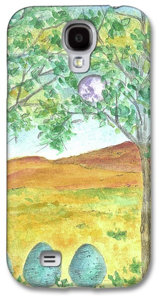 Mystical Landscape Mixed Media Galaxy S4 Cases - Full Moon and Robin Eggs Galaxy S4 Case by Cathie Richardson
