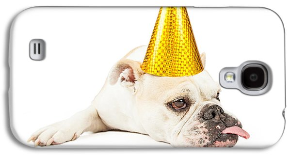 Party Birthday Party Galaxy S4 Cases - Funny Bulldog Wearing A Yellow Party Hat  Galaxy S4 Case by Susan  Schmitz