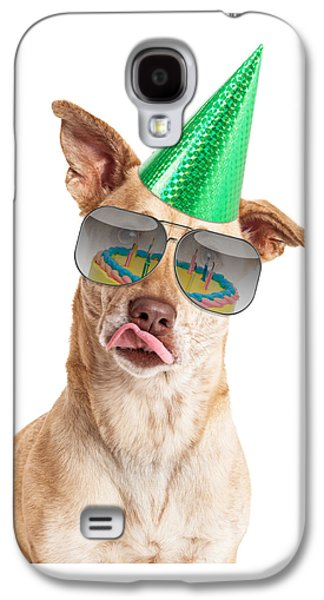 Party Birthday Party Galaxy S4 Cases - Funny Dog Birthday Cake Reflection Galaxy S4 Case by Susan  Schmitz