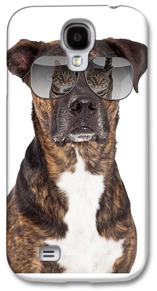 Headshot Galaxy S4 Cases - Funny Dog With Cat Reflection in Sunglasses Galaxy S4 Case by Susan  Schmitz
