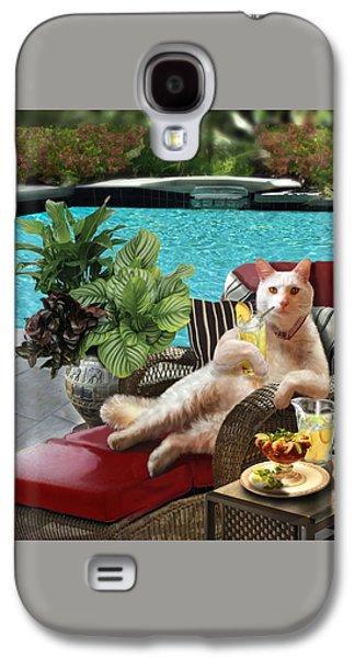 Funny Pet  Vacationing Kitty Galaxy S4 Case by Regina Femrite