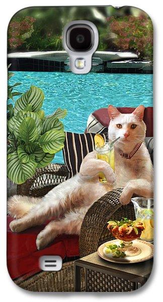 Garden Scene Galaxy S4 Cases - Funny Pet  Vacationing Kitty Galaxy S4 Case by Gina Femrite