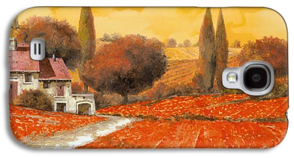 Landscapes Paintings Galaxy S4 Cases - fuoco di Toscana Galaxy S4 Case by Guido Borelli