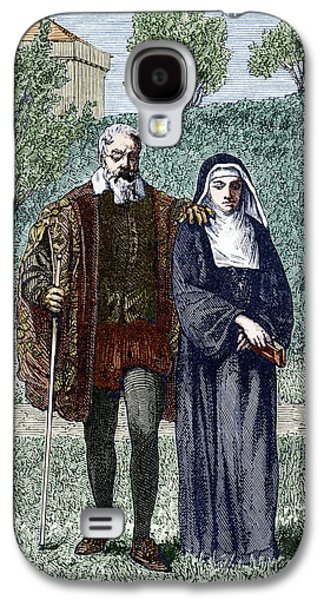 Sienna Italy Galaxy S4 Cases - Galileo And His Daughter Maria Celeste Galaxy S4 Case by Sheila Terry