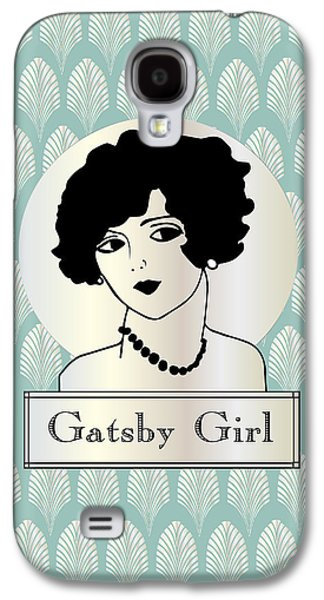 Jordan Drawings Galaxy S4 Cases - Gatsby Girl in Blue Silver Pearl Galaxy S4 Case by Cecely Bloom