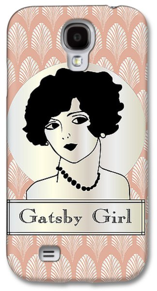 Jordan Drawings Galaxy S4 Cases - GATSBY GIRL in pink and pearl Galaxy S4 Case by Cecely Bloom