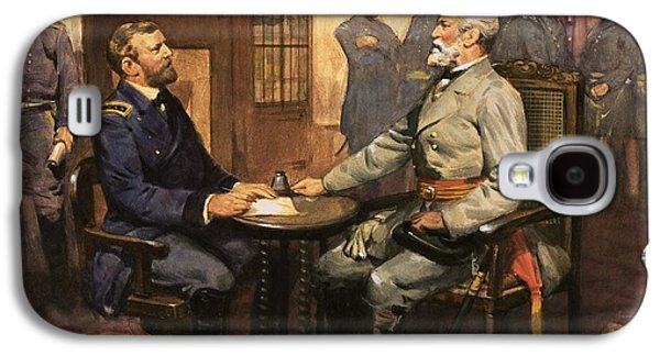 Politician Paintings Galaxy S4 Cases - General Grant meets Robert E Lee  Galaxy S4 Case by English School