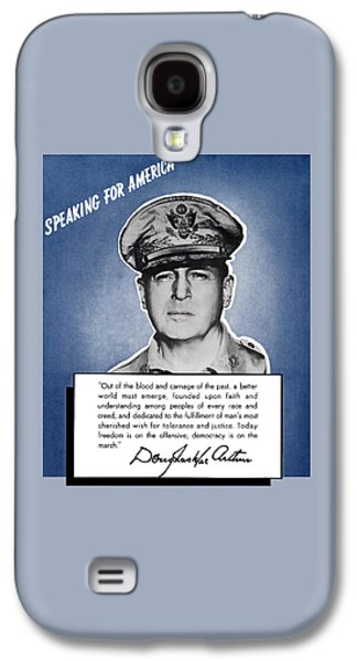 Patriot Mixed Media Galaxy S4 Cases - General MacArthur Speaking For America Galaxy S4 Case by War Is Hell Store