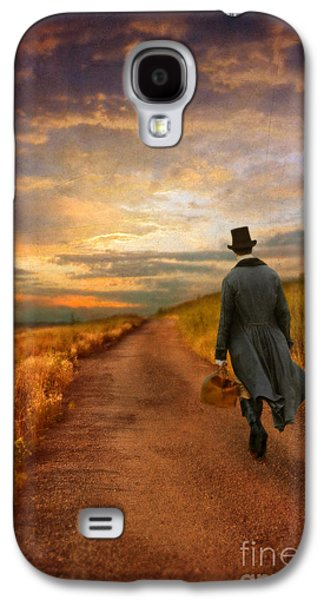 Young Man Photographs Galaxy S4 Cases - Gentleman Walking on Rural Road Galaxy S4 Case by Jill Battaglia