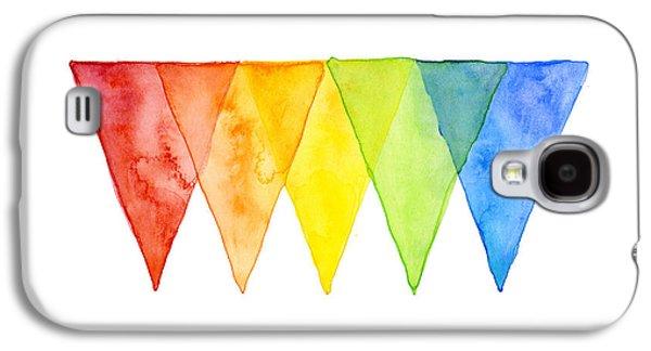 Geometric Shape Galaxy S4 Cases - Geometric Watercolor Pattern Rainbow Triangles Galaxy S4 Case by Olga Shvartsur