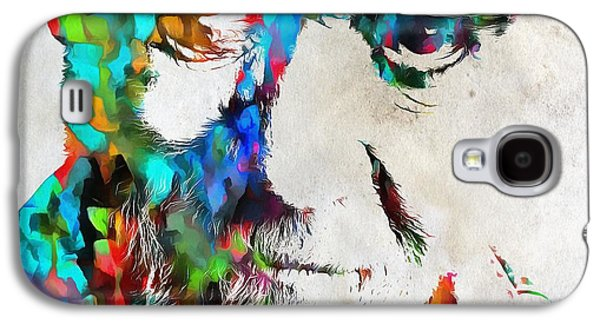 Satire Mixed Media Galaxy S4 Cases - George Carlin Watercolor Abstract Galaxy S4 Case by Dan Sproul