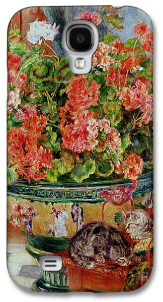 Interior Still Life Paintings Galaxy S4 Cases - Geraniums and Cats Galaxy S4 Case by Pierre Auguste Renoir