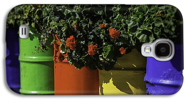 Red Geraniums Galaxy S4 Cases - Geraniums In Colorful Barrels Galaxy S4 Case by Garry Gay