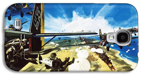 German Paratroopers Landing On Crete During World War Two Galaxy S4 Case by Wilf Hardy