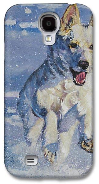 German Shepherd White In Snow Galaxy S4 Case by Lee Ann Shepard