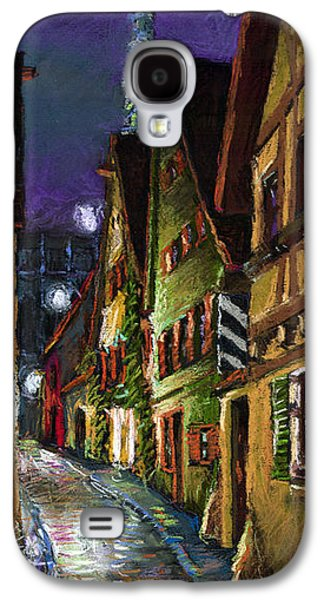 Architecture Pastels Galaxy S4 Cases - Germany Ulm Old Street Night Moon Galaxy S4 Case by Yuriy  Shevchuk