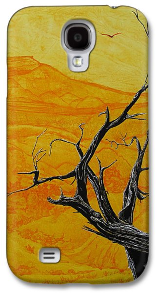 Black Bird.flying Paintings Galaxy S4 Cases - Ghost Ranch Galaxy S4 Case by Mattie O